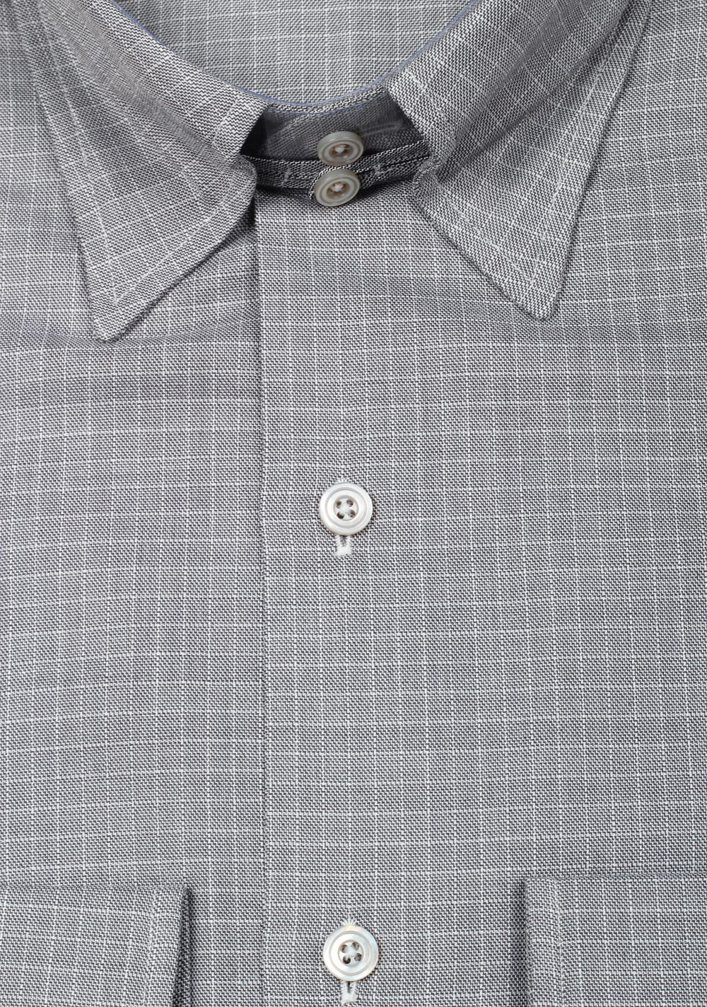 TOM FORD Checked Gray High Collar Dress Shirt Size 40 / 15,75 U.S. | Costume Limité