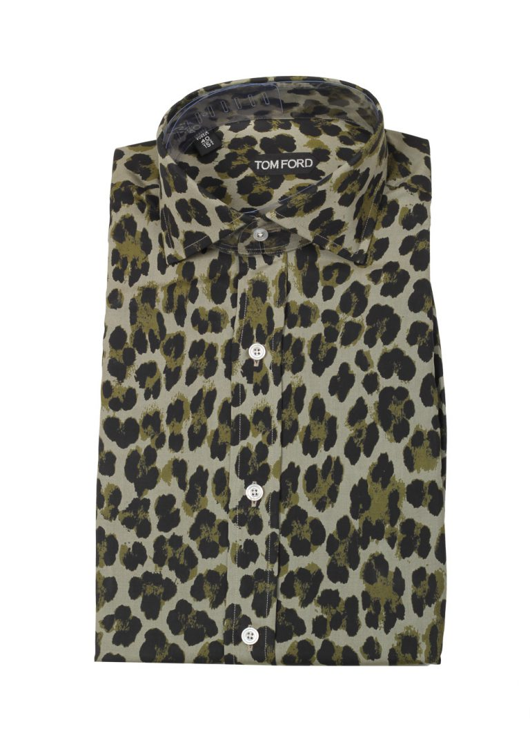 TOM FORD Green Leopard Dress Shirt Size 40 / 15,75 U.S. - thumbnail | Costume Limité