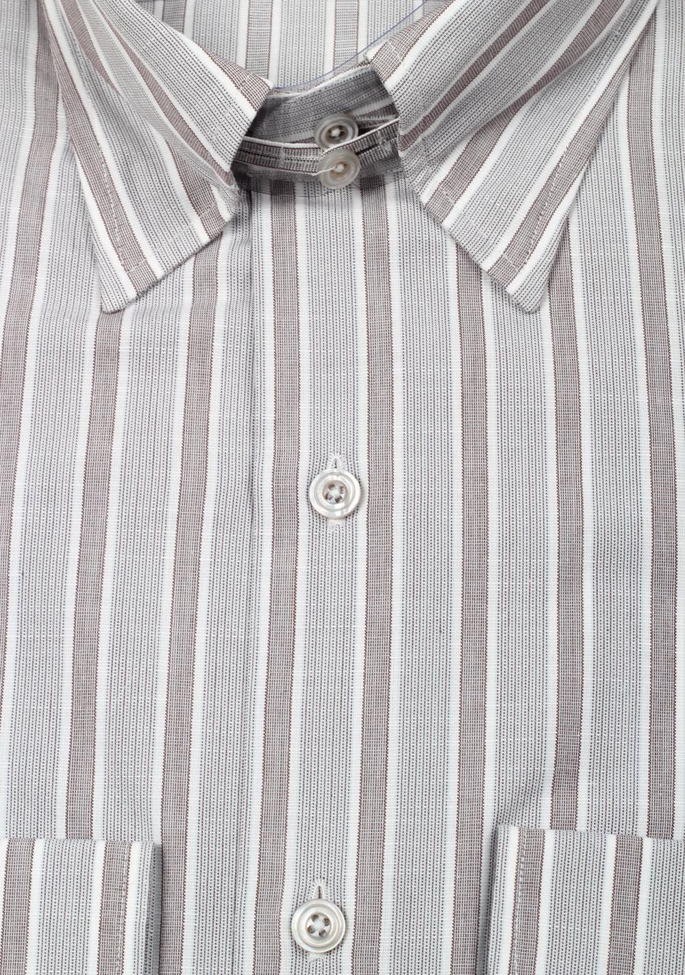 TOM FORD Striped Gray High Collar Dress Shirt Size 40 / 15,75 U.S.   Costume Limité