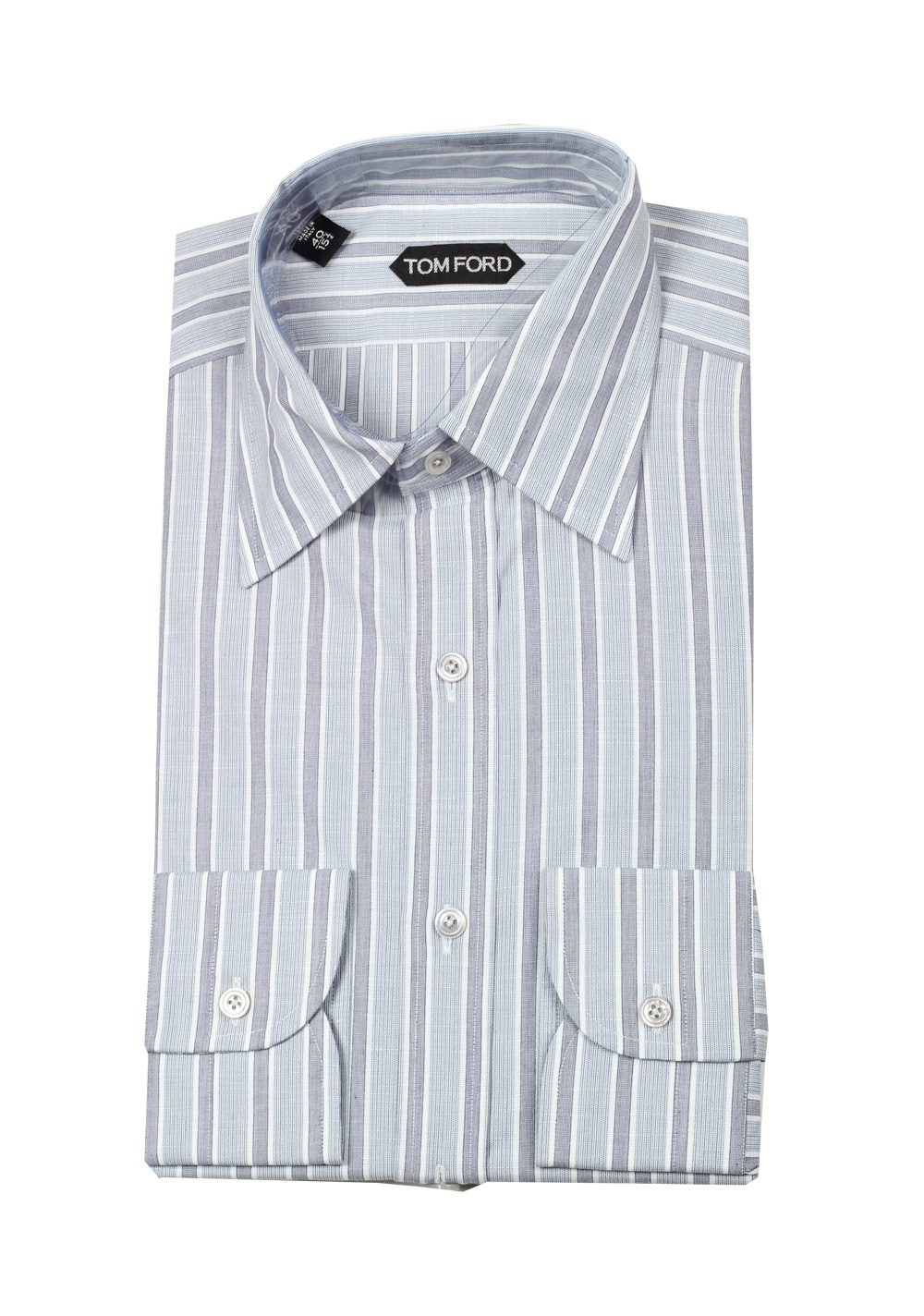 TOM FORD Striped Gray High Collar Dress Shirt Size 40 / 15,75 U.S. | Costume Limité
