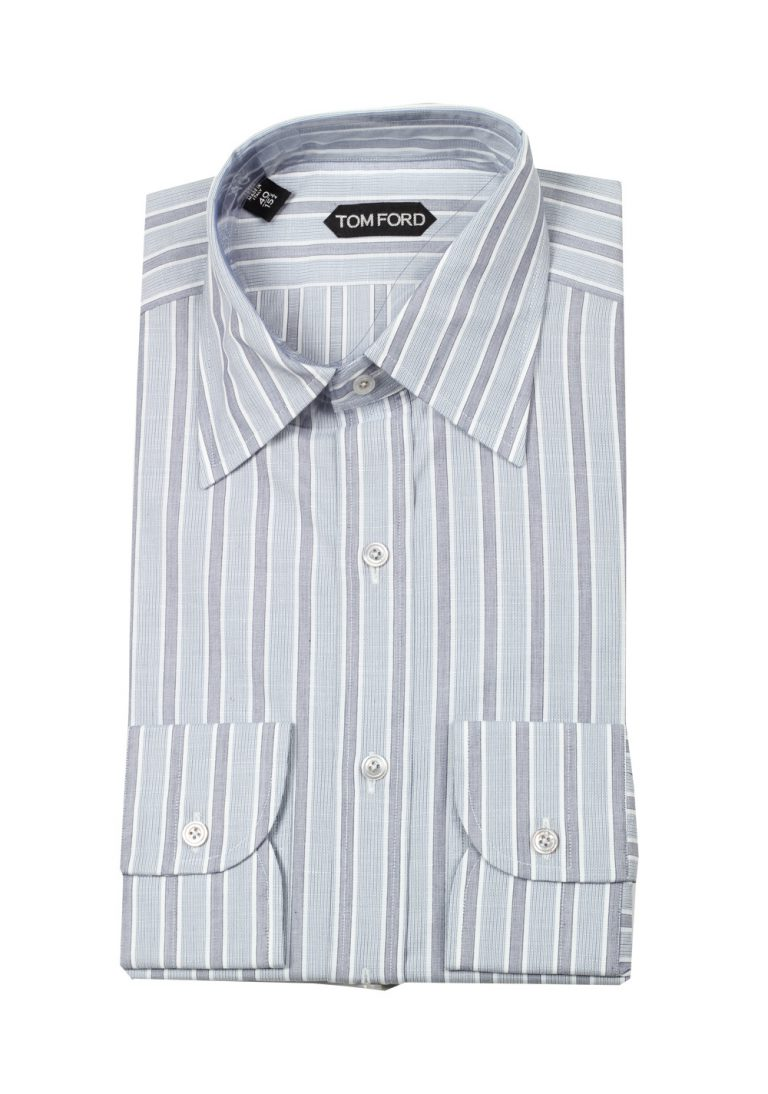 TOM FORD Striped Gray High Collar Dress Shirt Size 40 / 15,75 U.S. - thumbnail | Costume Limité