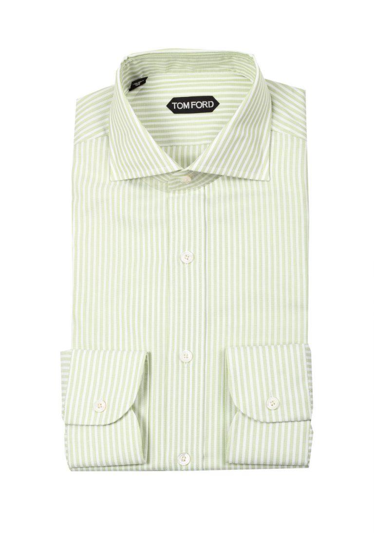 TOM FORD Striped White Green Dress Shirt Size 40 / 15,75 U.S. - thumbnail | Costume Limité