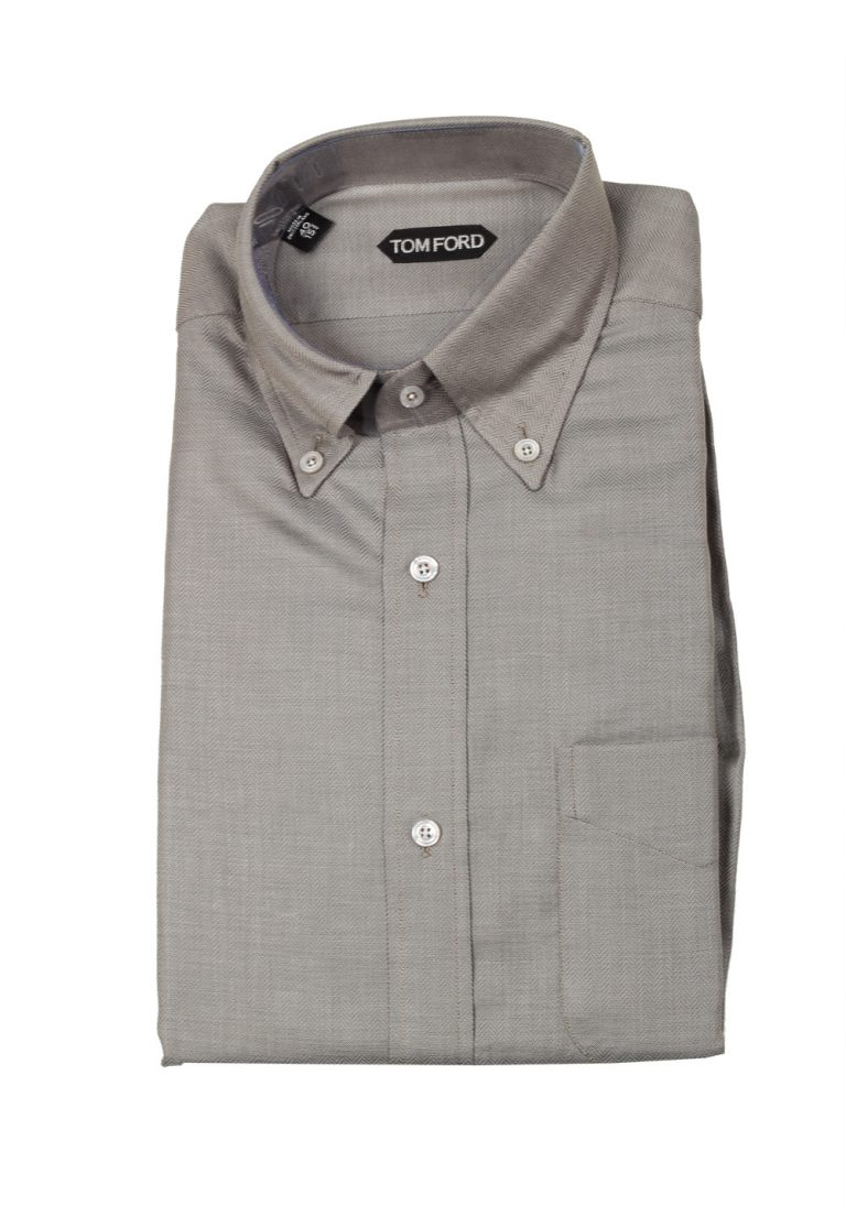TOM FORD Solid Gray Button Down Dress Shirt Size 40 / 15,75 U.S. - thumbnail | Costume Limité