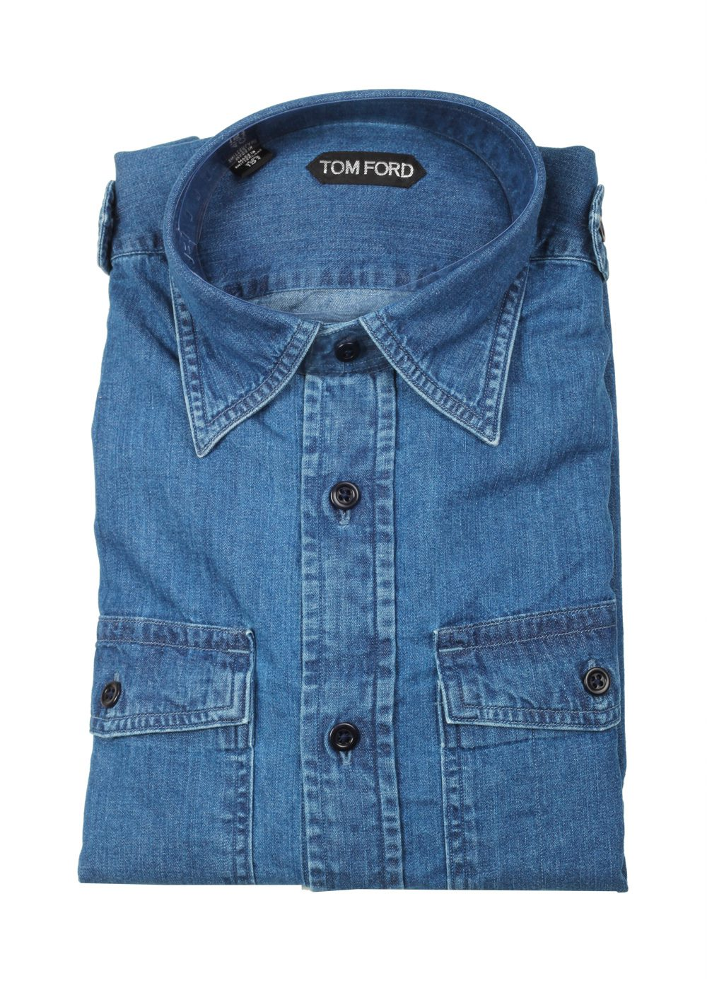 TOM FORD Solid Blue Denim Western Casual Shirt Size 40 / 15,75 U.S. | Costume Limité