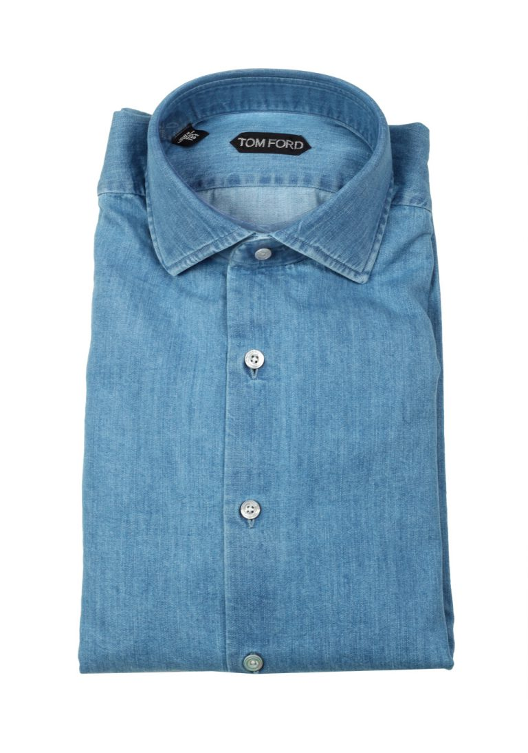 TOM FORD Solid Blue Denim Dress Shirt Size 40 / 15,75 U.S. - thumbnail | Costume Limité