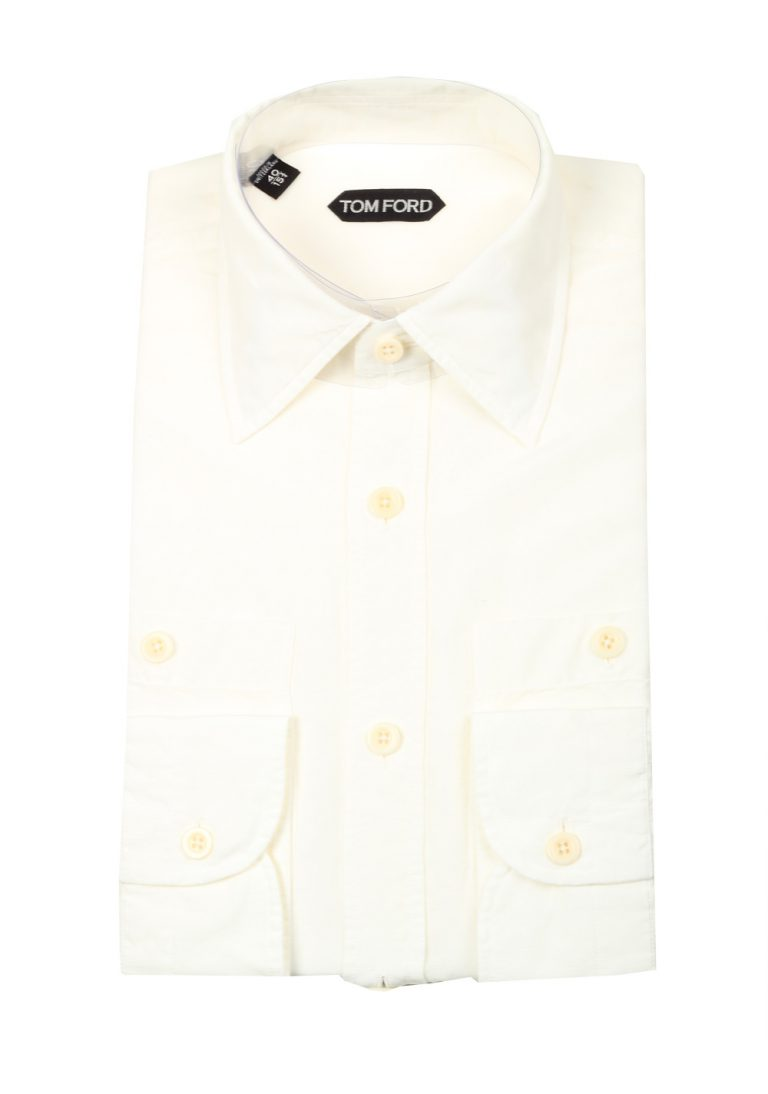 TOM FORD Solid Off White Casual Shirt Size 40 / 15,75 U.S. - thumbnail | Costume Limité