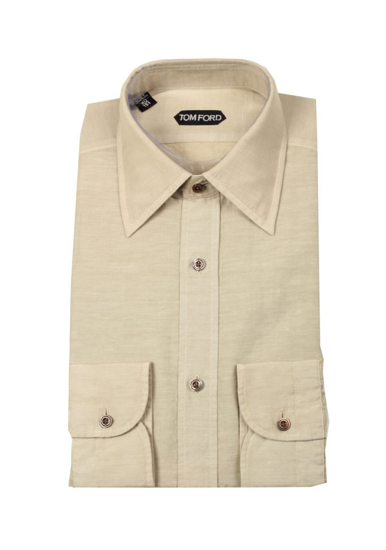 TOM FORD Solid Beige Dress Shirt Size 40 / 15,75 U.S. - thumbnail | Costume Limité