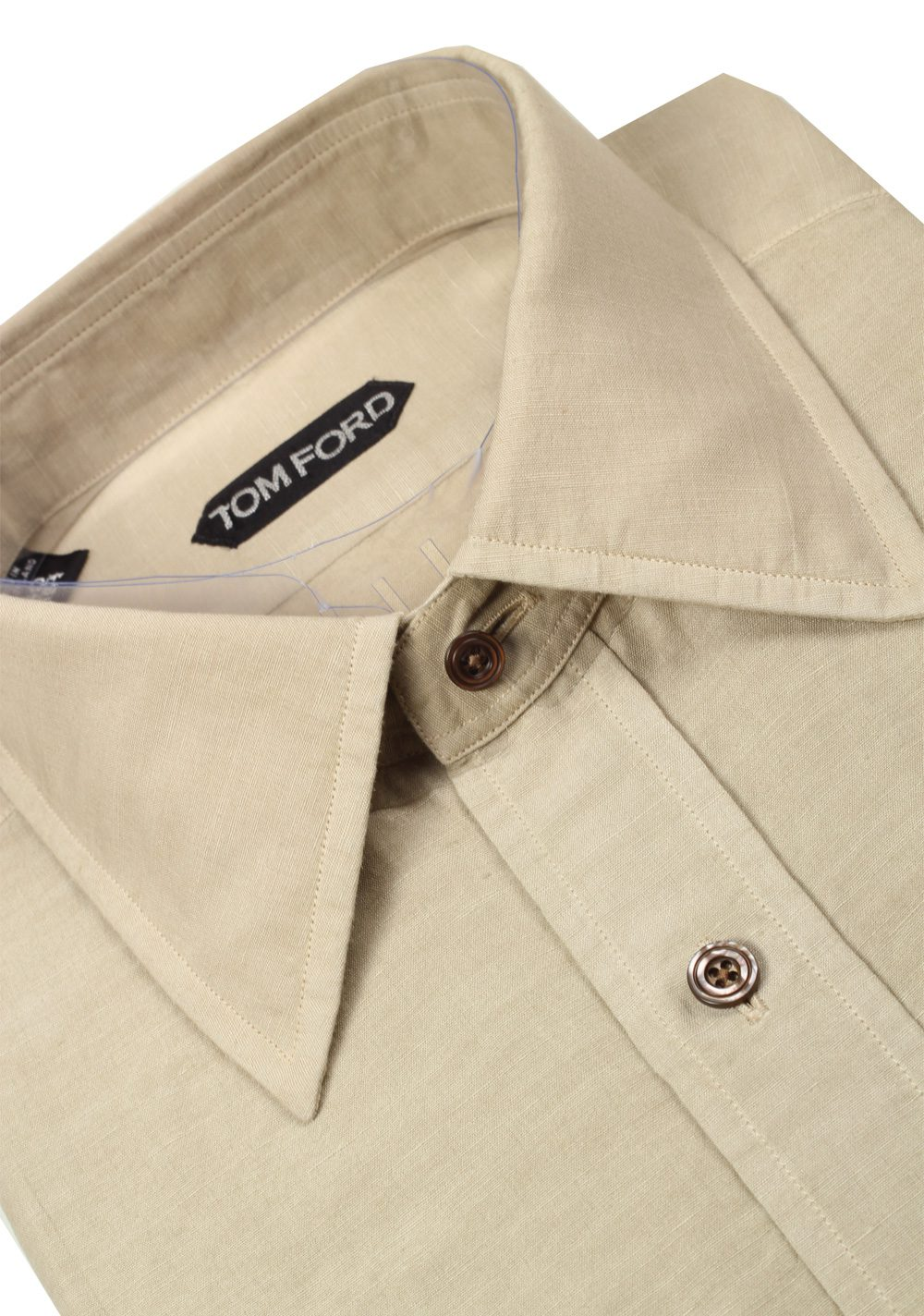 TOM FORD Solid Beige Dress Shirt Size 40 / 15,75 U.S. | Costume Limité