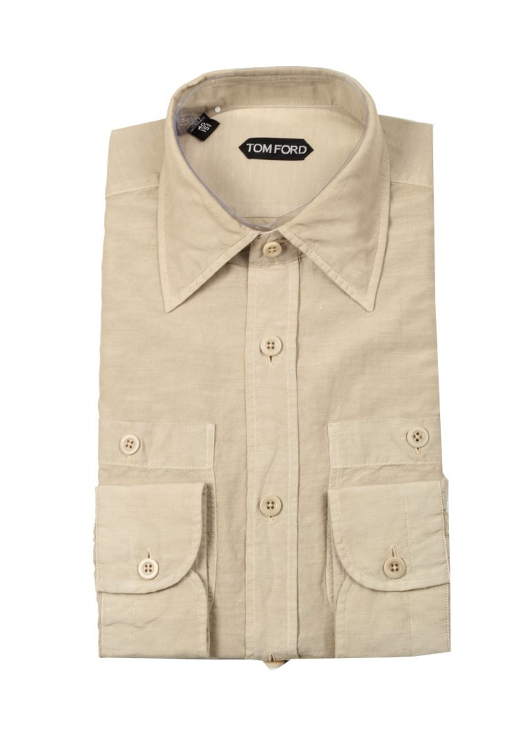TOM FORD Solid Beige Casual Shirt Size 40 / 15,75 U.S. - thumbnail | Costume Limité