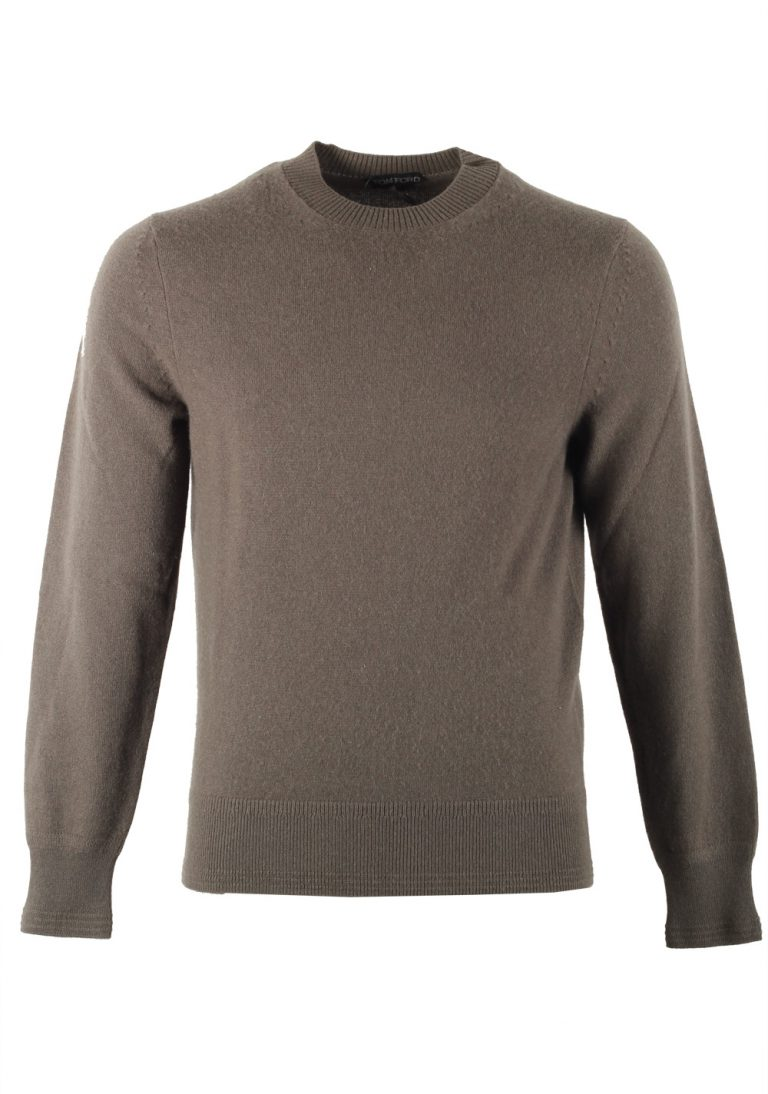 TOM FORD Brownish Green Crew Neck Sweater Size 48 / 38R U.S. In Cashmere - thumbnail | Costume Limité