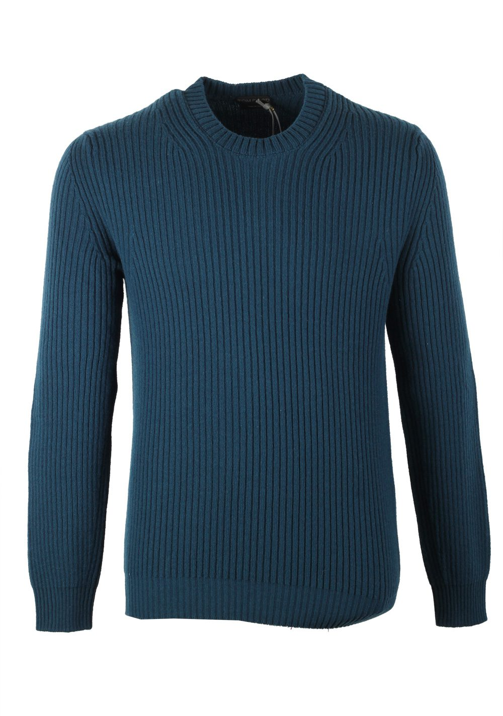 TOM FORD Blue Crew Neck Sweater Size 48 / 38R U.S. In Cashmere Blend | Costume Limité