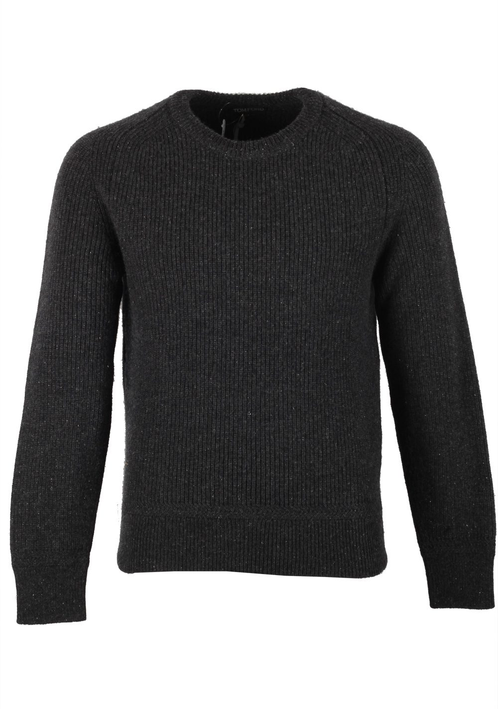 TOM FORD Gray Crew Neck Sweater Size 48 / 38R U.S. In Wool Silk | Costume Limité
