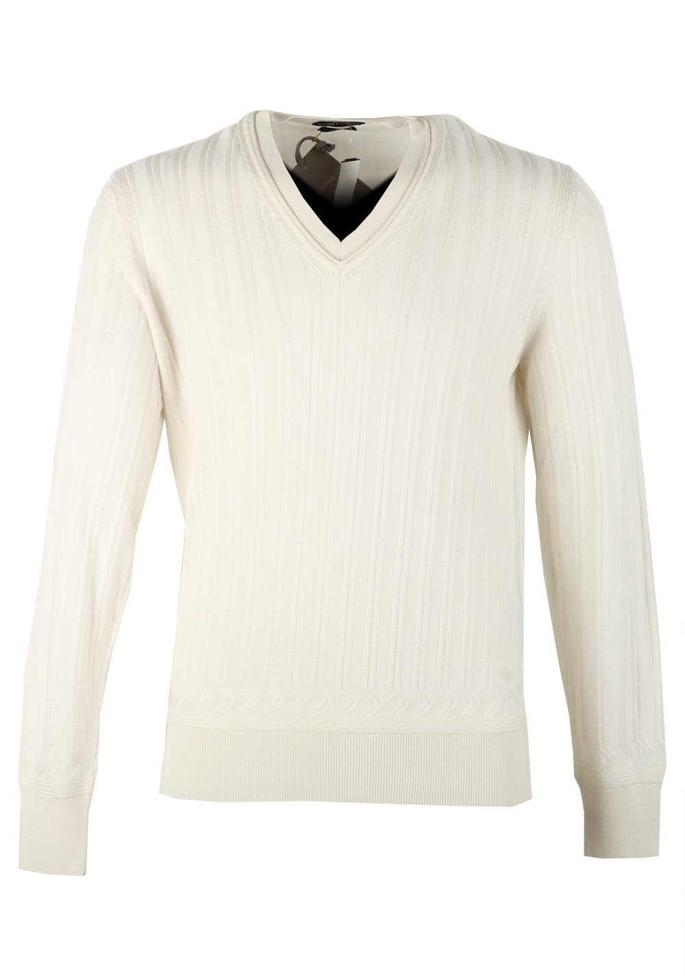 TOM FORD White V Neck Sweater Size 48 / 38R U.S. In Cashmere Silk | Costume Limité