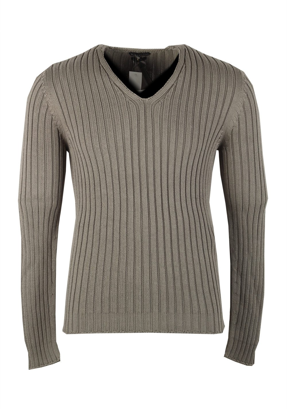 TOM FORD Green V Neck Sweater Size 48 / 38R U.S. In Cotton Silk | Costume Limité