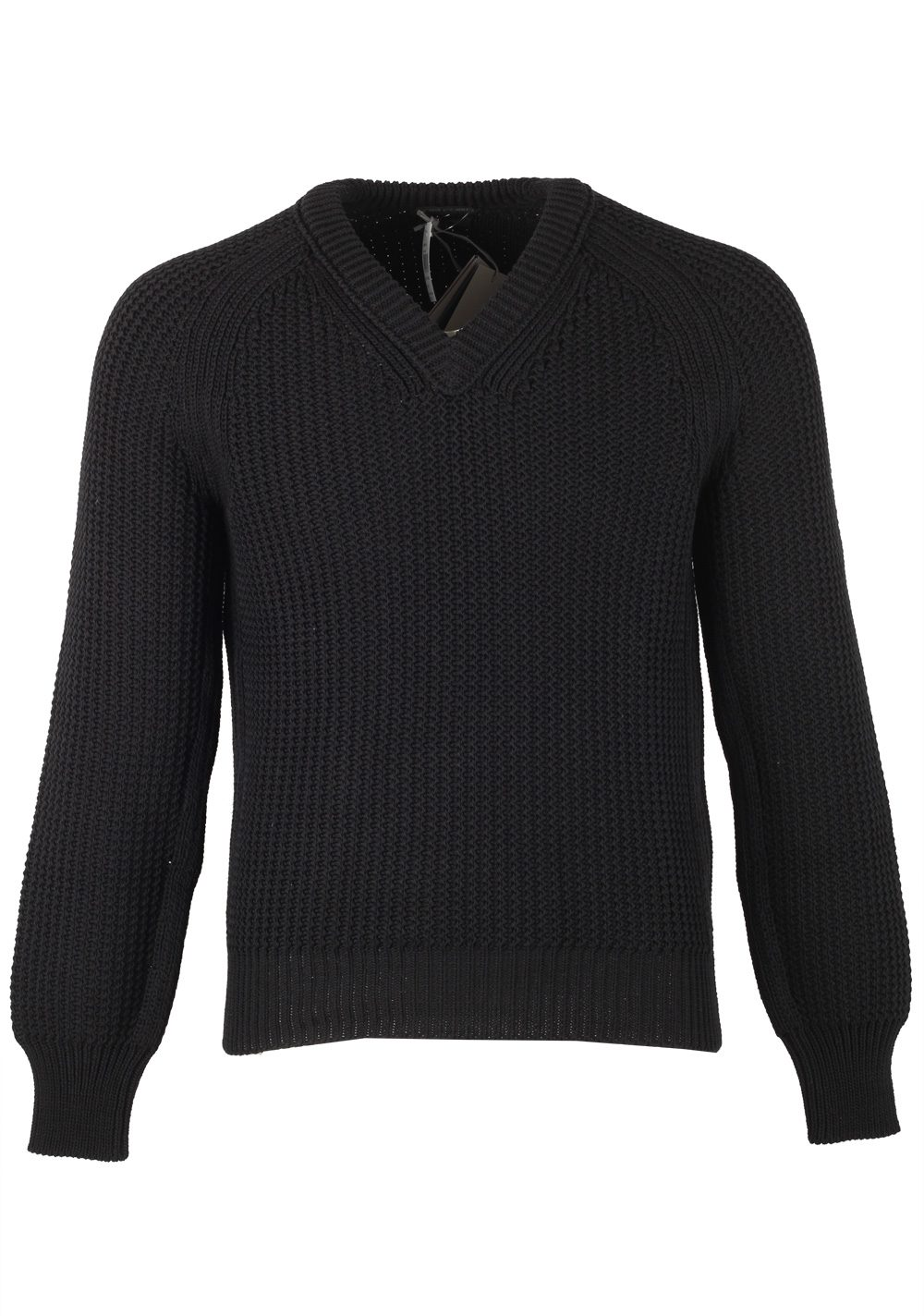 TOM FORD Black V Neck Sweater Size 48 / 38R U.S. In Cotton Silk | Costume Limité