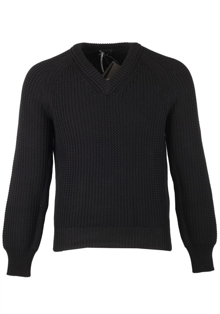 TOM FORD Black V Neck Sweater Size 48 / 38R U.S. In Cotton Silk - thumbnail | Costume Limité
