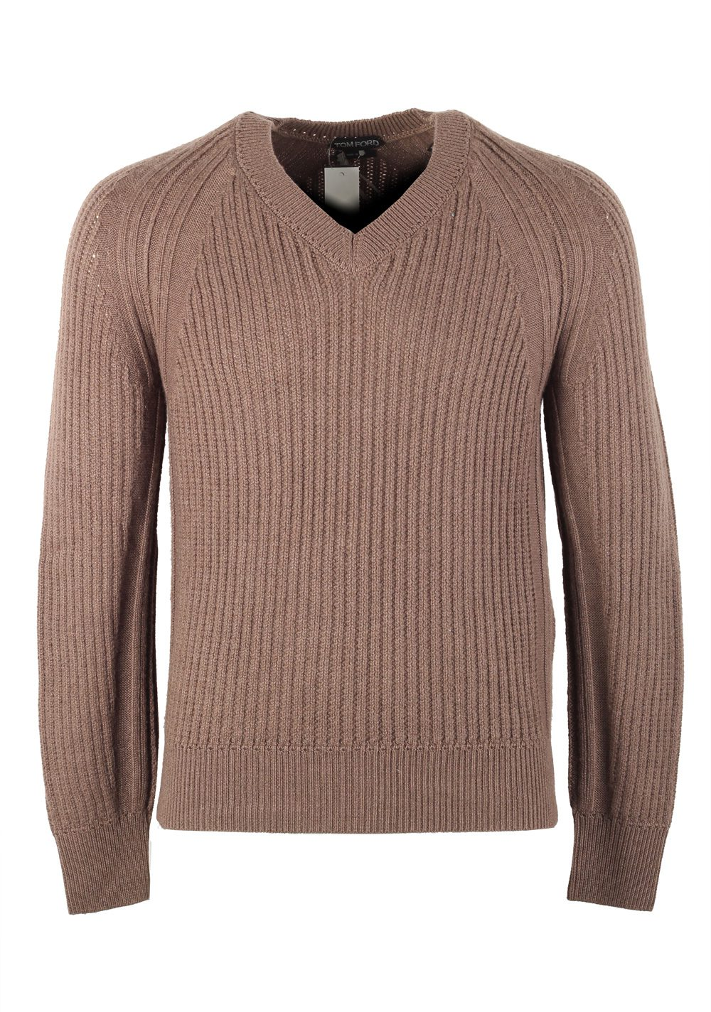 TOM FORD Brown V Neck Sweater Size 48 / 38R U.S. In Cashmere Silk | Costume Limité