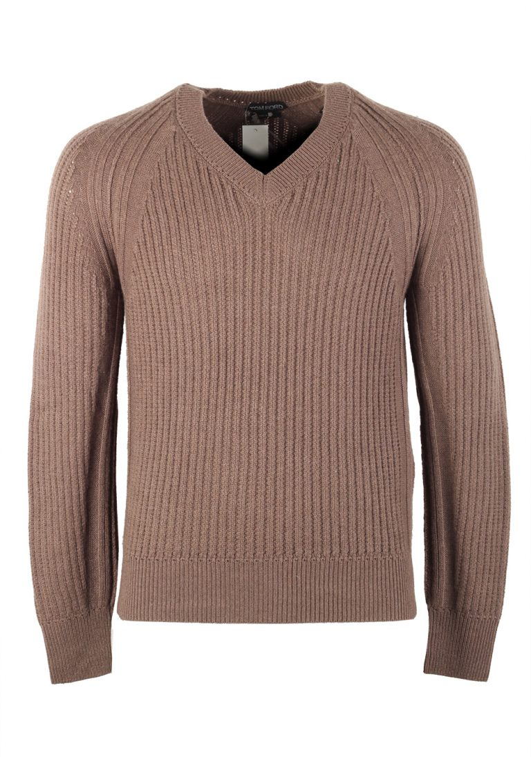 TOM FORD Brown V Neck Sweater Size 48 / 38R U.S. In Cashmere Silk - thumbnail | Costume Limité