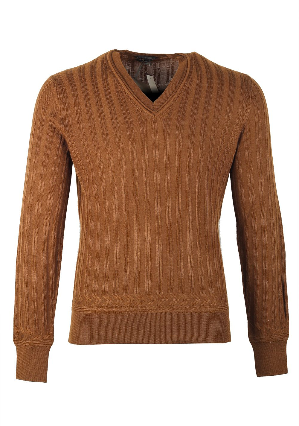 TOM FORD Brown V Neck Sweater Size 48 / 38R U.S. In Cotton Silk | Costume Limité