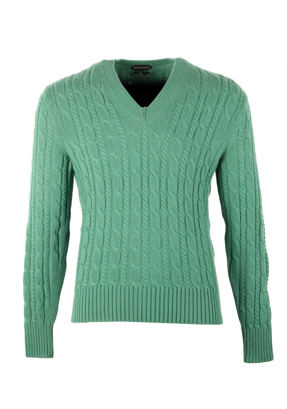 TOM FORD Green V Neck Sweater Size 48 / 38R U.S. In Cashmere | Costume Limité