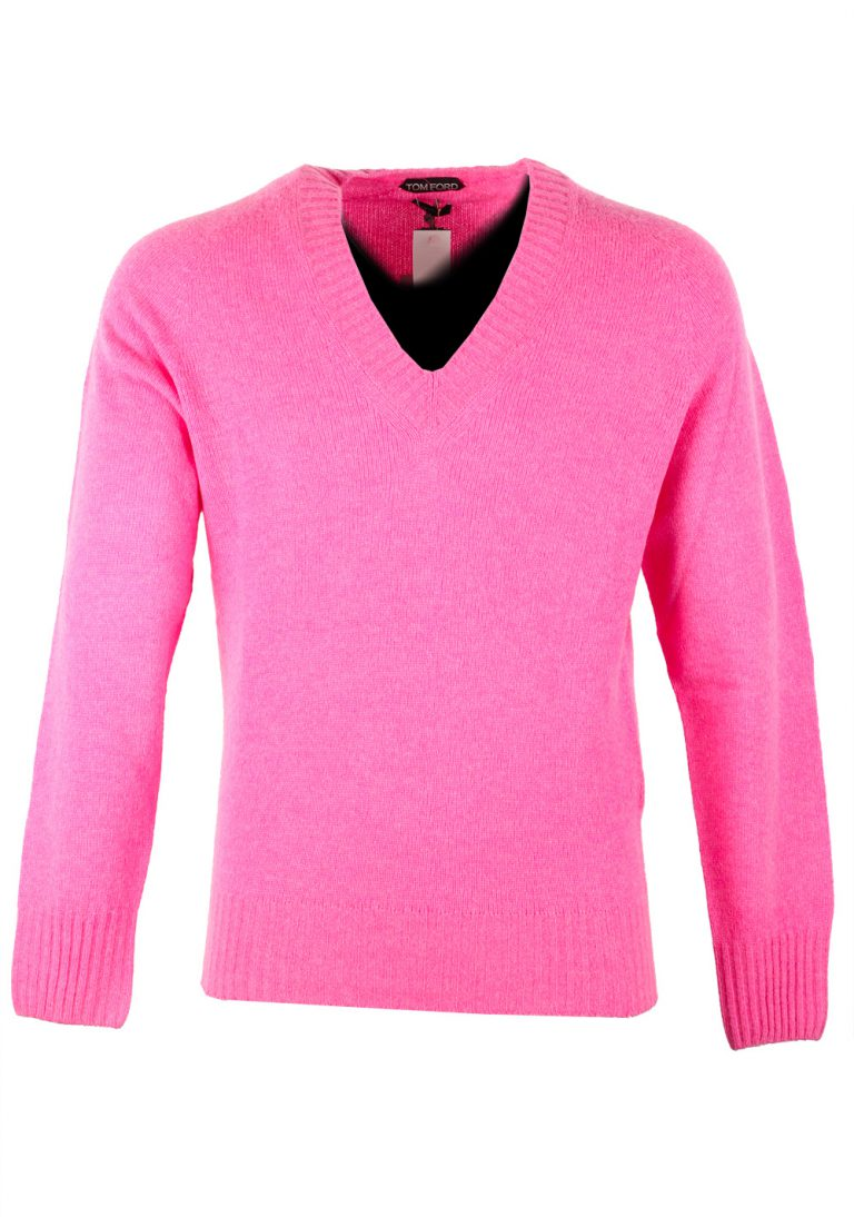 TOM FORD Pink V Neck Sweater Size 48 / 38R U.S. In Cashmere Blend - thumbnail | Costume Limité