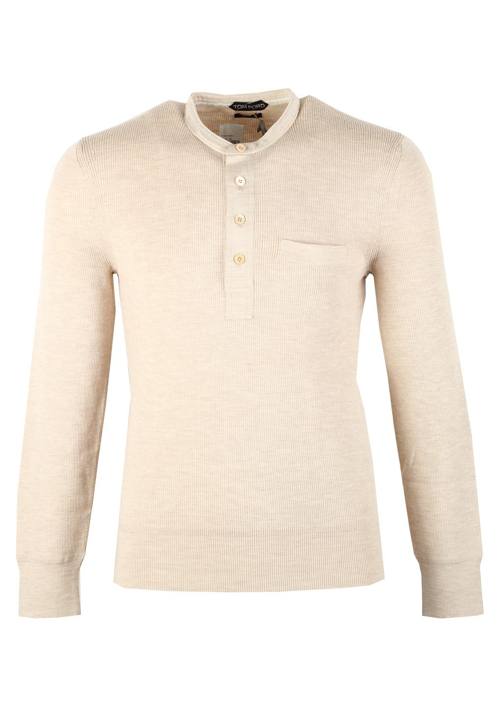 TOM FORD Beige Long Sleeve Henley Sweater Size 48 / 38R U.S. In Wool Silk | Costume Limité