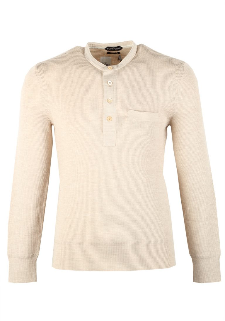 TOM FORD Beige Long Sleeve Henley Sweater Size 48 / 38R U.S. In Wool Silk - thumbnail | Costume Limité