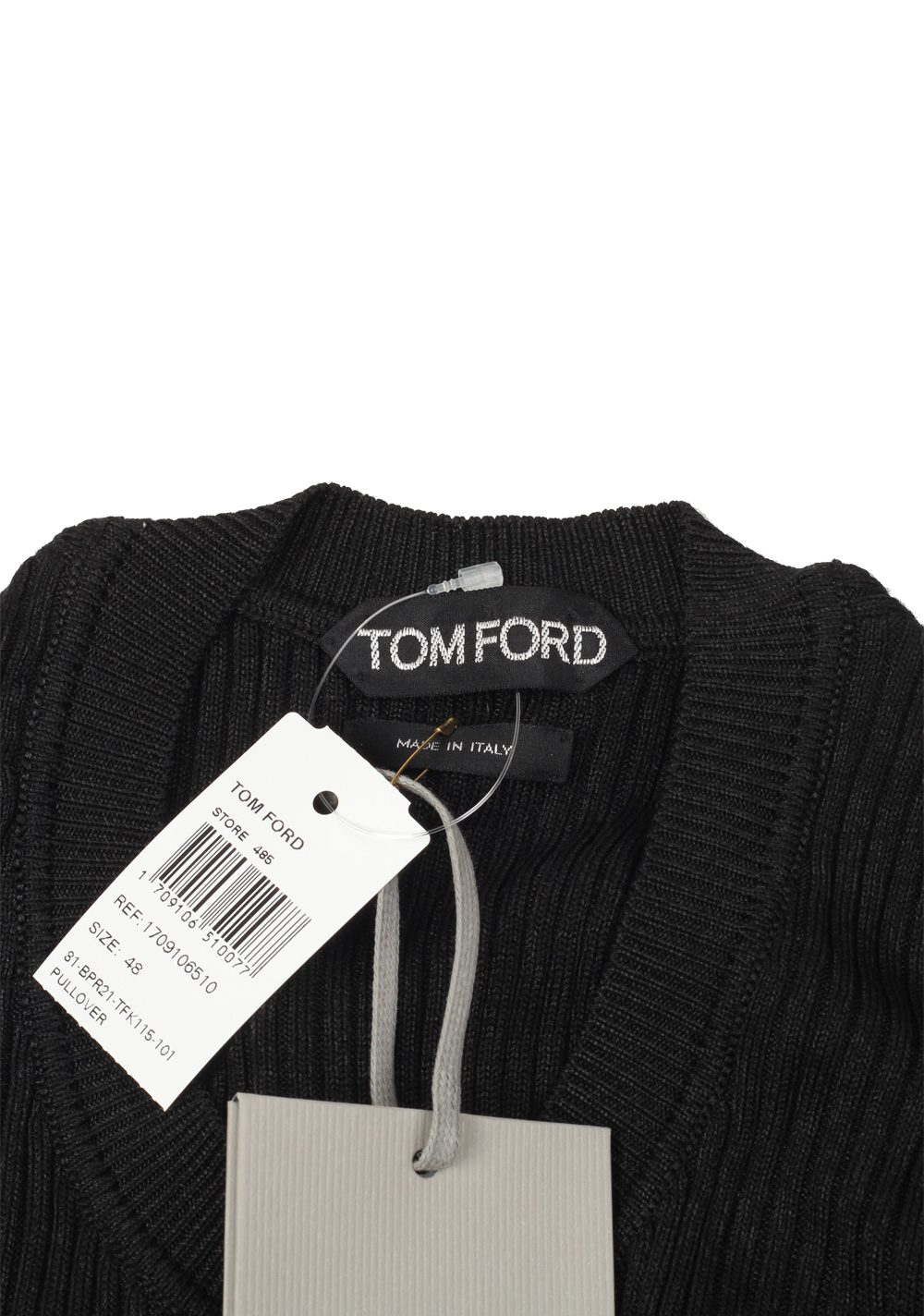 TOM FORD Black Long Sleeve Henley Sweater Size 48 / 38R U.S. In Rayon Silk | Costume Limité