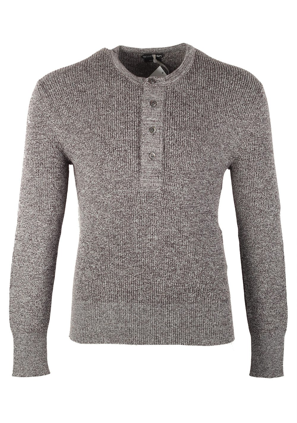 TOM FORD Gray Long Sleeve Henley Sweater Size 48 / 38R U.S. In Wool Silk | Costume Limité