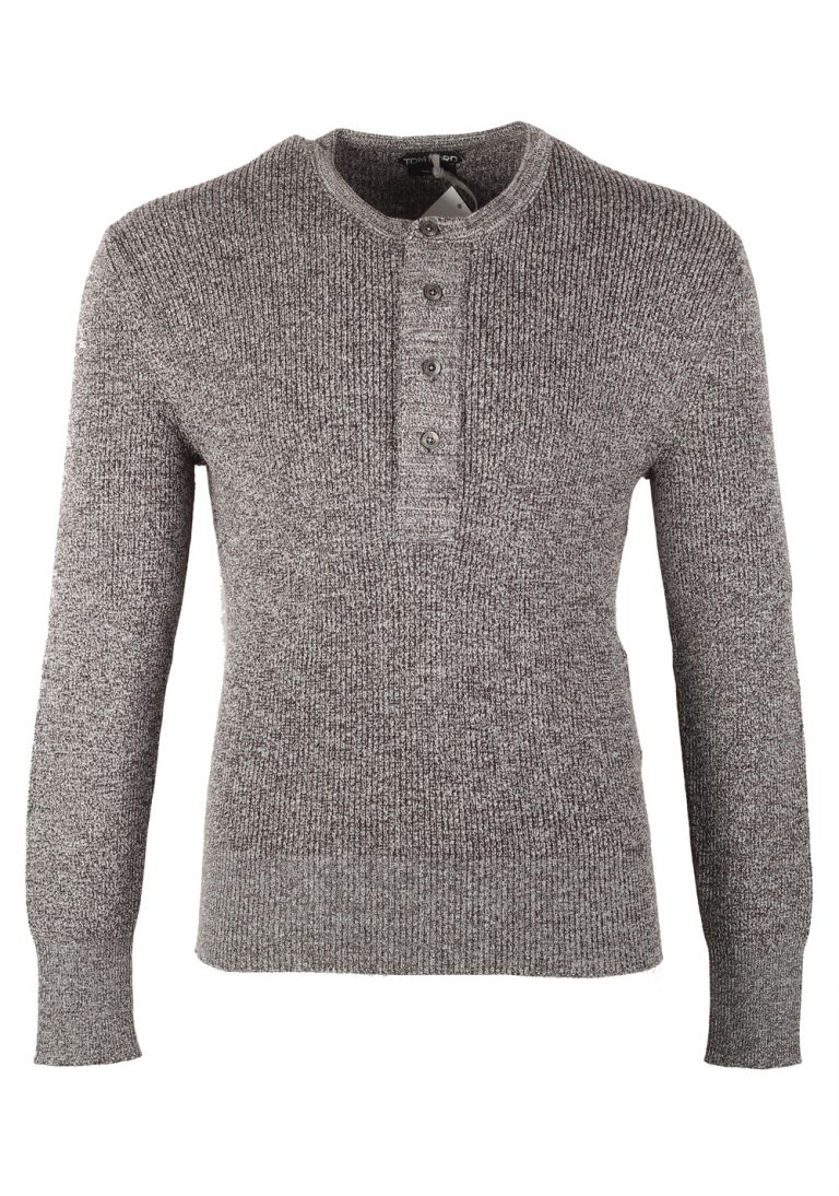 TOM FORD Gray Long Sleeve Henley Sweater Size 48 / 38R U.S. In Wool Silk - thumbnail | Costume Limité