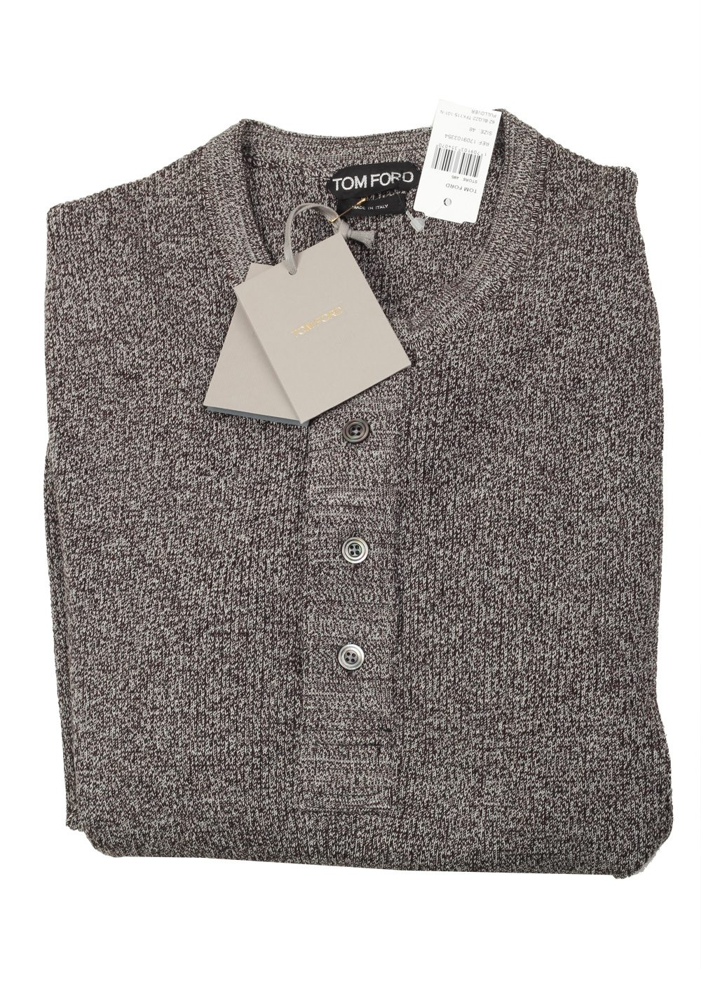 TOM FORD Gray Long Sleeve Henley Sweater Size 48 / 38R U.S. In Wool Silk   Costume Limité