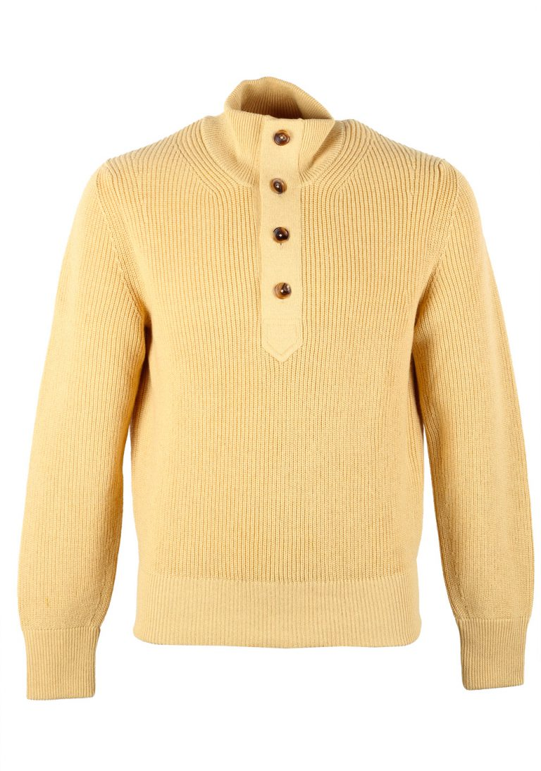 TOM FORD Yellow Funnel Collar Sweater Size 48 / 38R U.S. In Cashmere Linen - thumbnail | Costume Limité