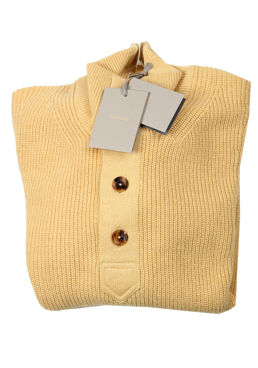 TOM FORD Yellow Funnel Collar Sweater Size 48 / 38R U.S. In Cashmere Linen   Costume Limité