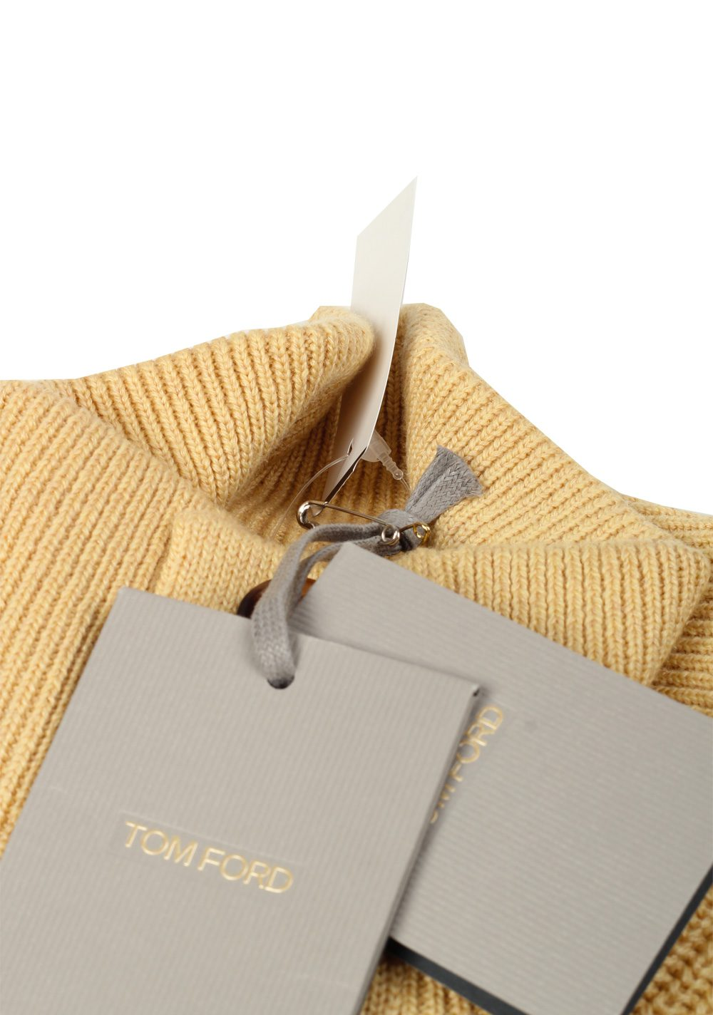 TOM FORD Yellow Funnel Collar Sweater Size 48 / 38R U.S. In Cashmere Linen | Costume Limité