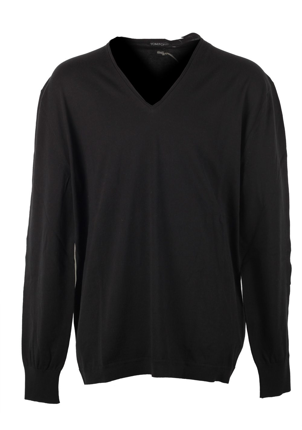 TOM FORD Black V Neck Sweater Size 64 / 54R U.S. In Cotton | Costume Limité