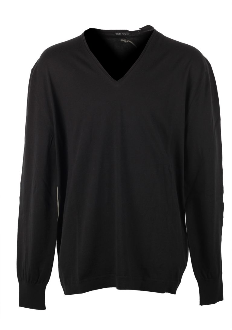 TOM FORD Black V Neck Sweater Size 64 / 54R U.S. In Cotton - thumbnail | Costume Limité