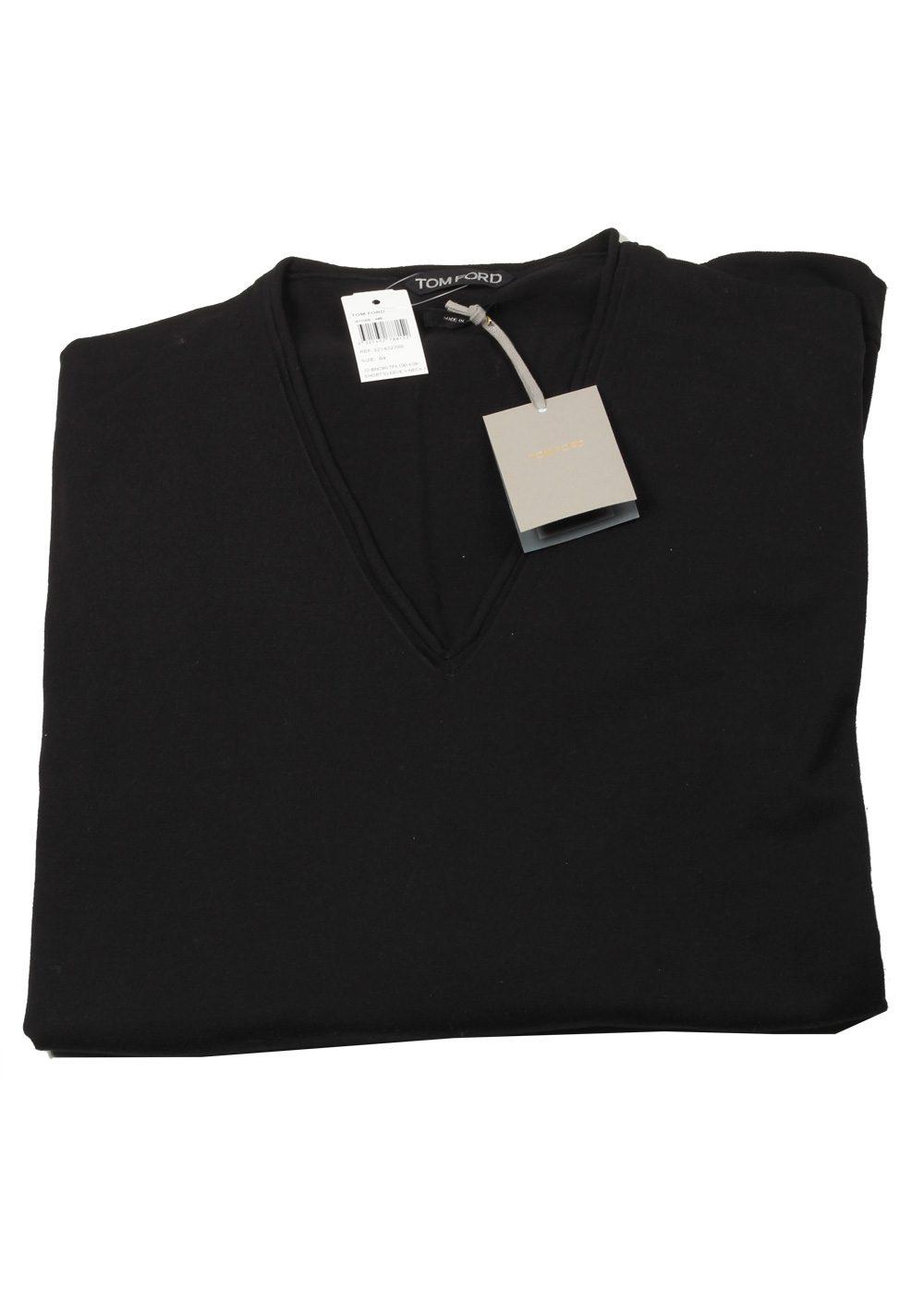 TOM FORD Black V Neck Sweater Size 64 / 54R U.S. In Cotton | Costume Limité