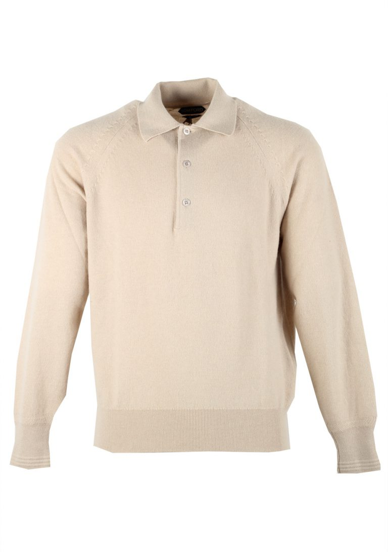 TOM FORD Beige Long Sleeven Polo Sweater Size 48 / 38R U.S. In Cashmere - thumbnail | Costume Limité