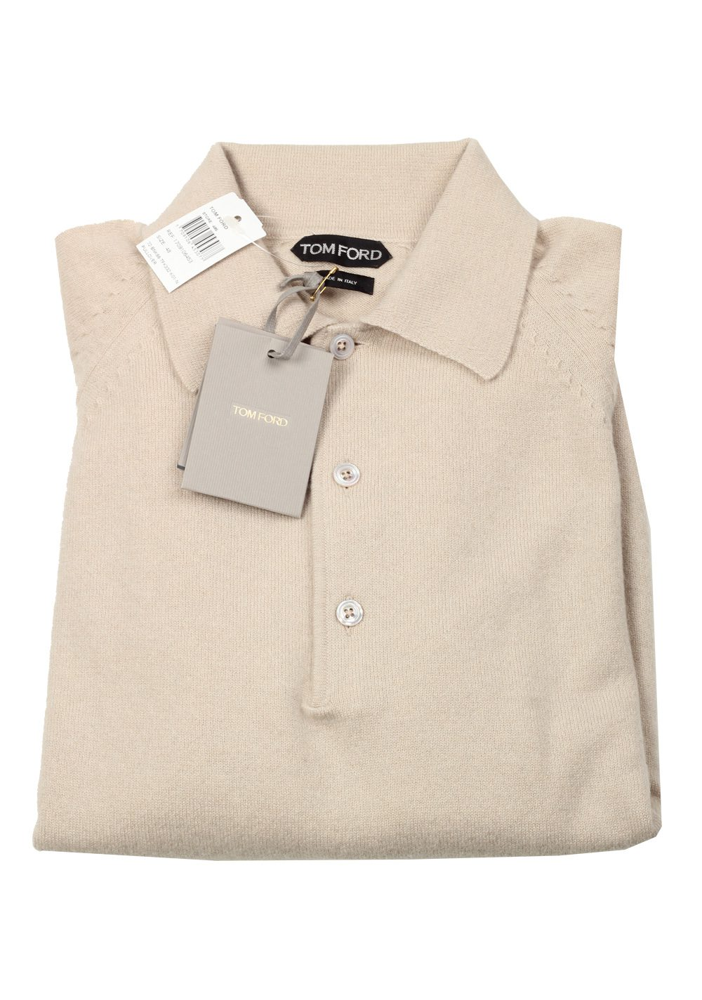 TOM FORD Beige Long Sleeven Polo Sweater Size 48 / 38R U.S. In Cashmere | Costume Limité