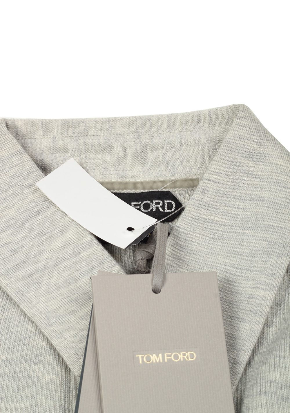 TOM FORD Gray Long Sleeve Polo Sweater Size 48 / 38R U.S. In Wool Silk | Costume Limité