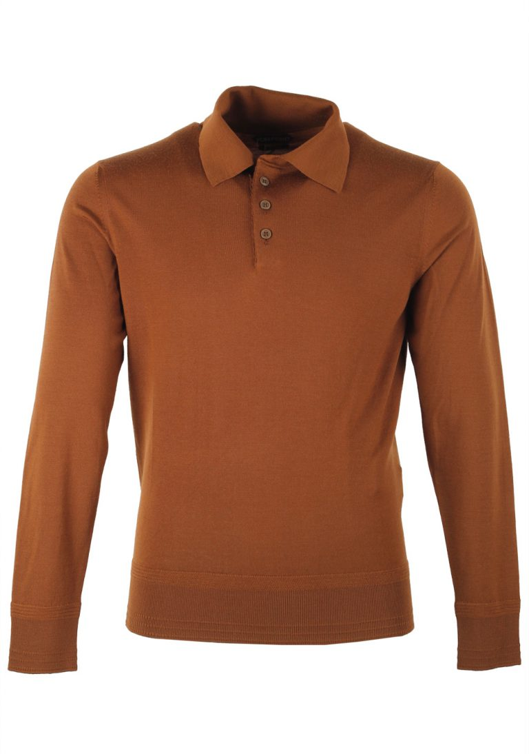 TOM FORD Brown Long Sleeve Polo Sweater Size 48 / 38R U.S. In Wool - thumbnail | Costume Limité