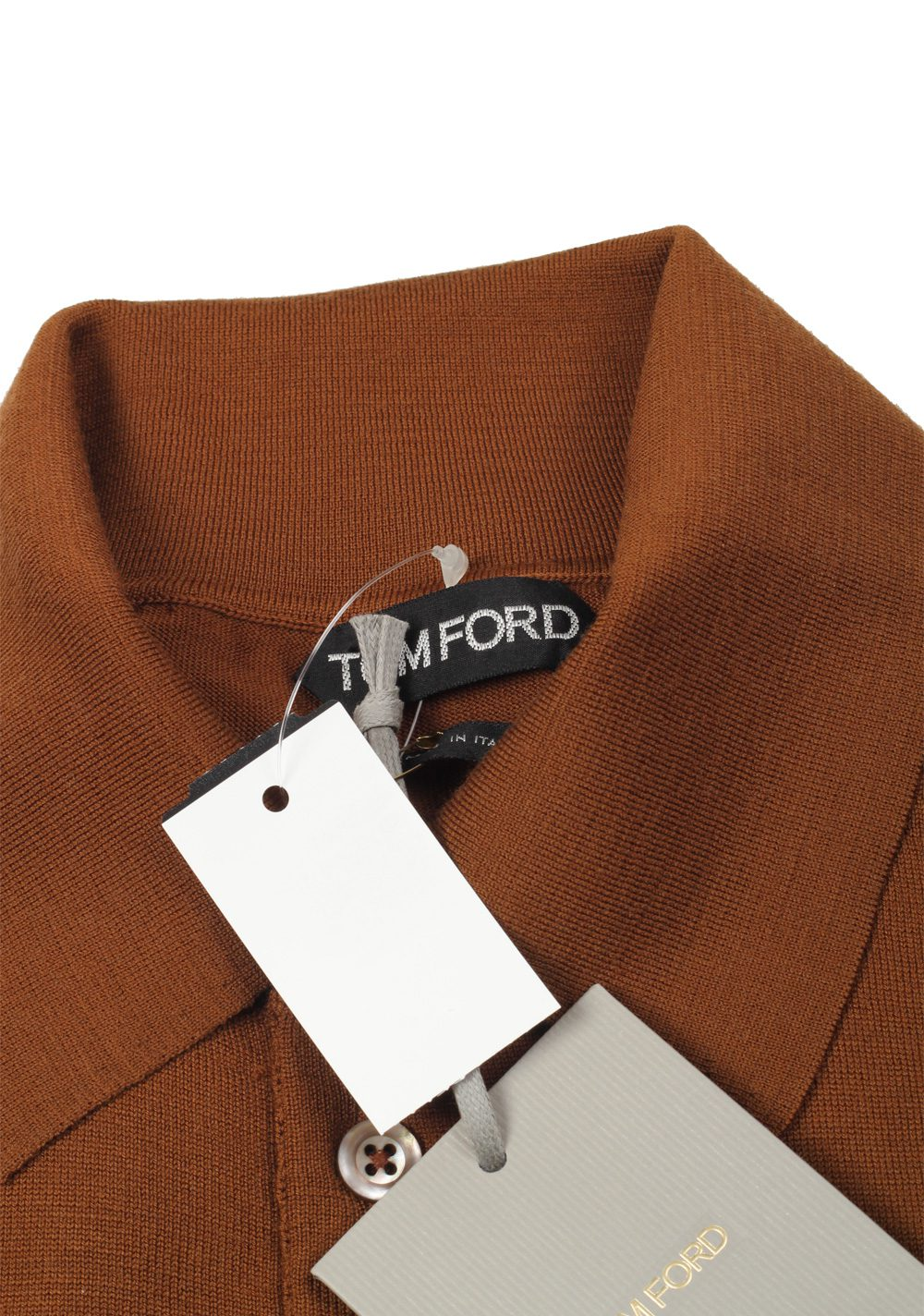 TOM FORD Brown Long Sleeve Polo Sweater Size 48 / 38R U.S. In Wool | Costume Limité