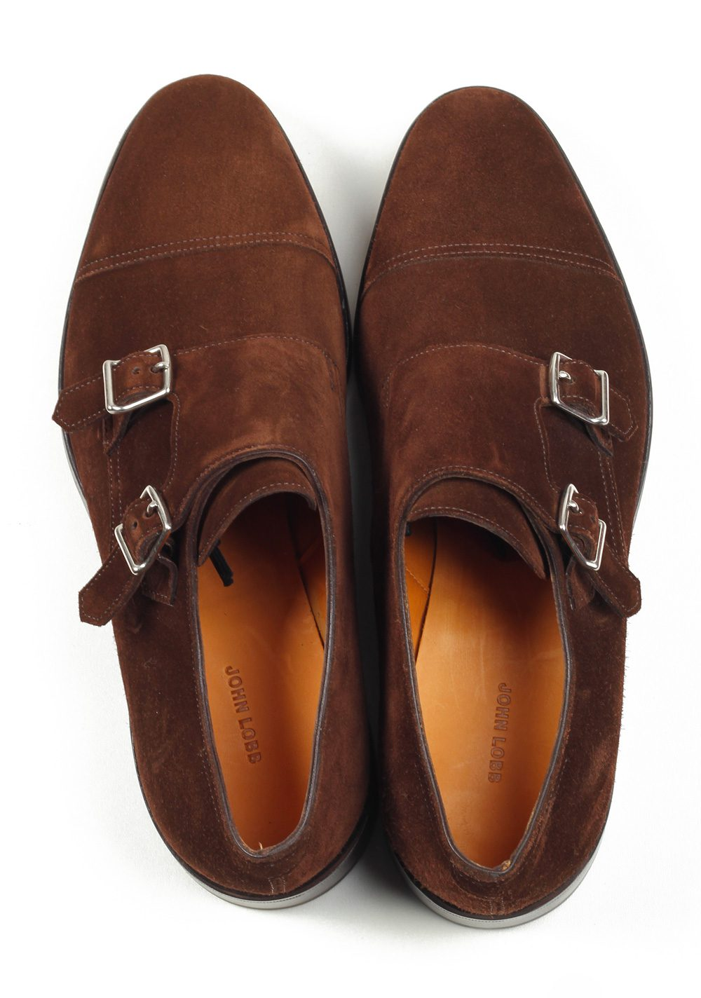 John Lobb William Brown Double Monk Strap Shoes Size 7,5 UK 8,5 U.S. On 9795 Last