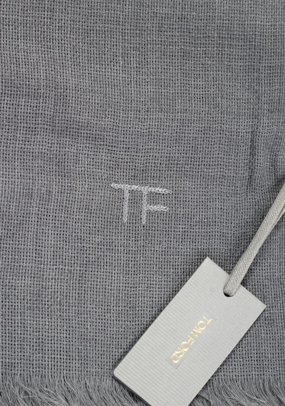 Tom Ford Gray Cashmere Cotton Signature Scarf 75″ / 24″ | Costume Limité