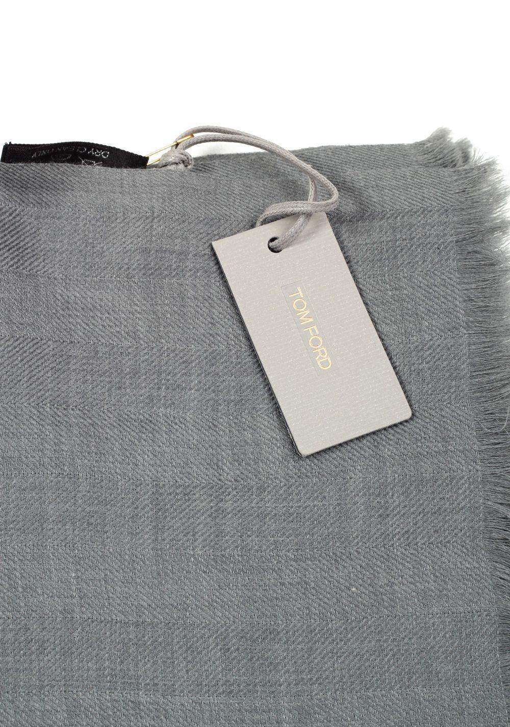 Tom Ford Gray Cashmere Cotton Signature Scarf 75″ / 24″ | Costume Limité