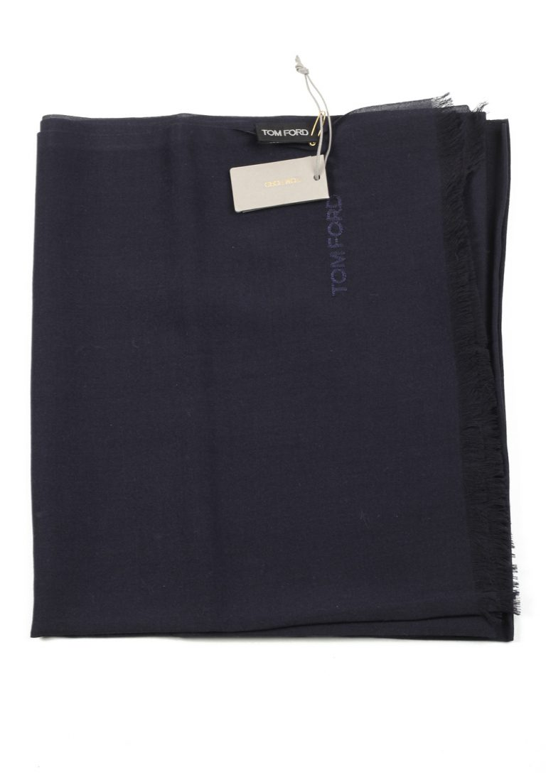 Tom Ford Blue Cashmere Mulberry Silk Signature Scarf 75″ / 24″ - thumbnail | Costume Limité