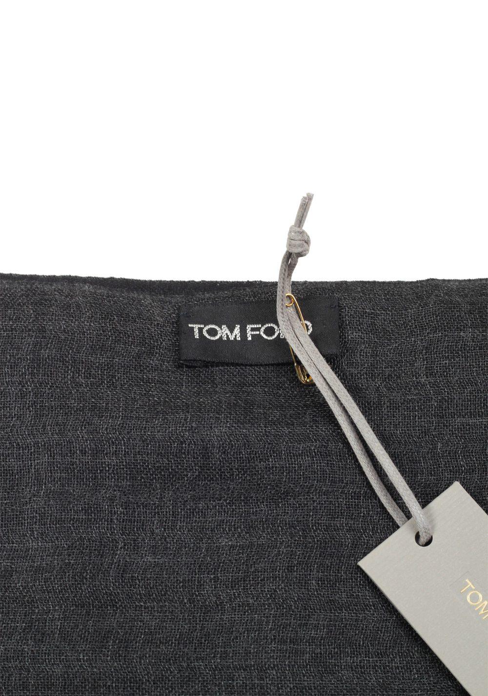 Tom Ford Black Cashmere Silk Signature Scarf 75″ / 24″ | Costume Limité