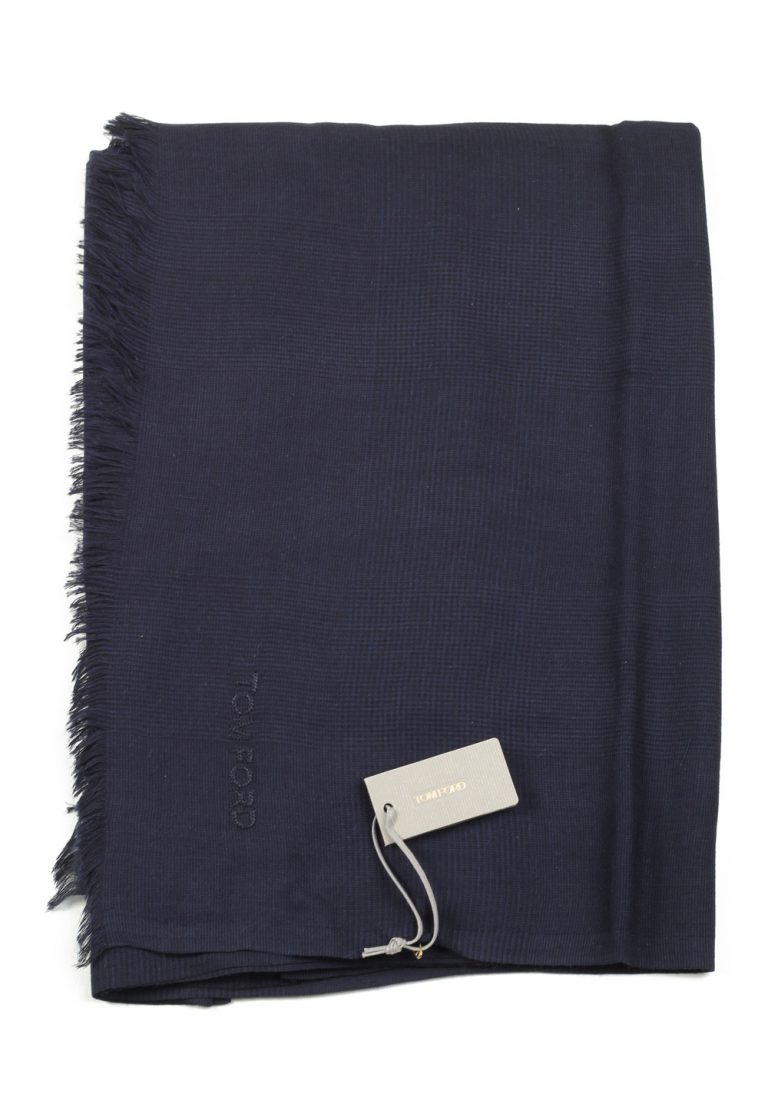 Tom Ford Blue Modal Cashmere Silk Signature Scarf 75″ / 30″ - thumbnail | Costume Limité