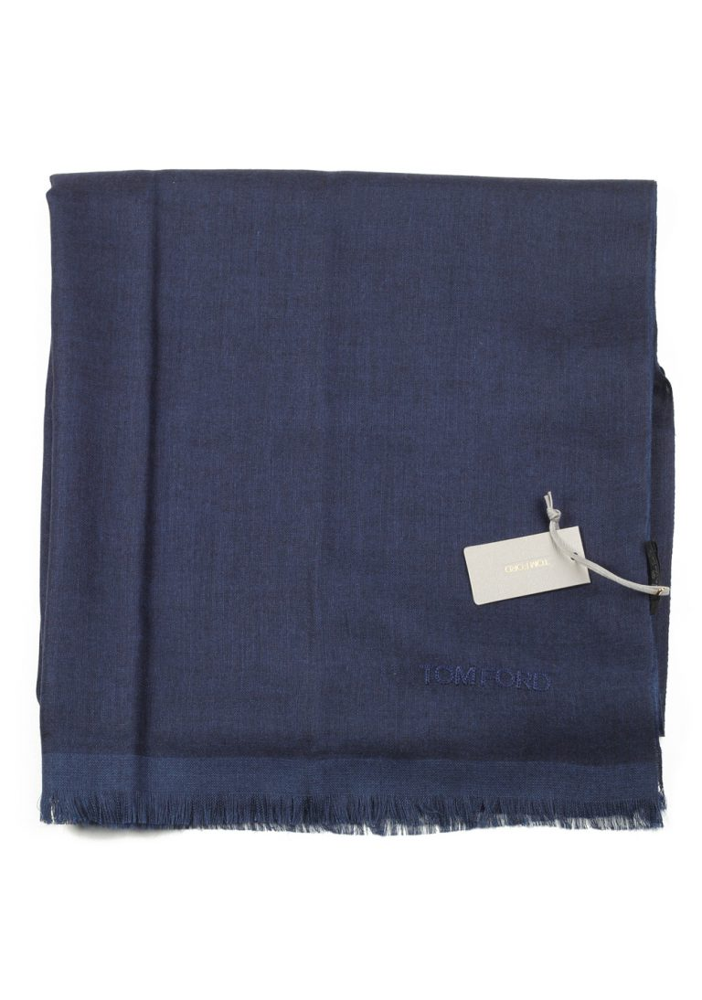 Tom Ford Blue Cashmere Silk Signature Scarf 75″ / 30″ - thumbnail | Costume Limité