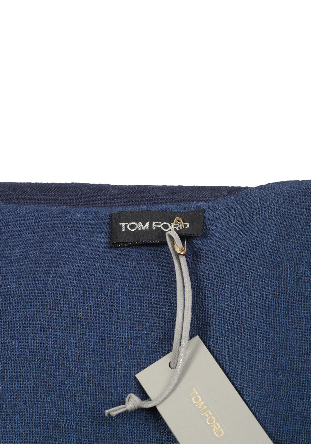 Tom Ford Blue Cashmere Silk Signature Scarf 75″ / 30″   Costume Limité